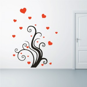 sticker love et plante